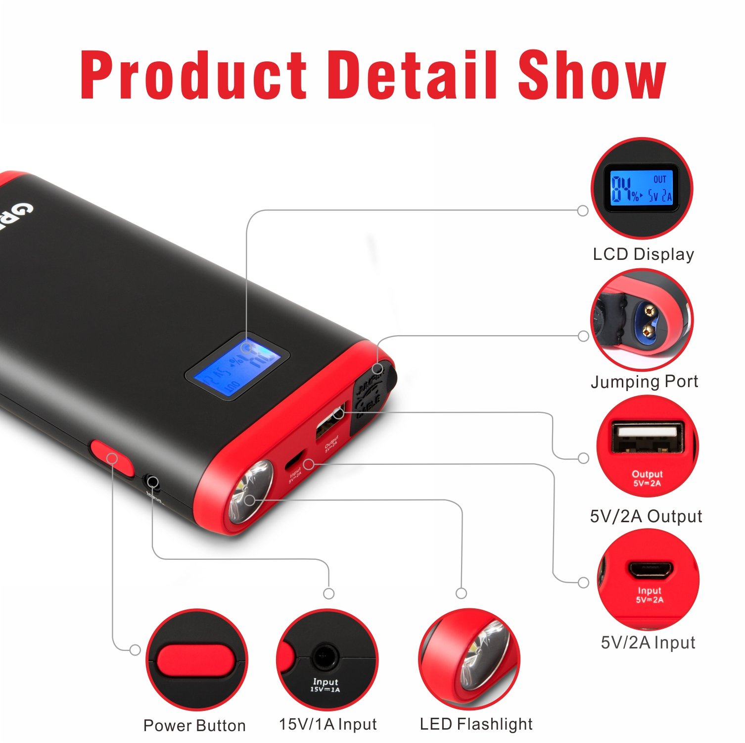GREPRO Car Jump Starter 500A 12V Vehicle (Up to 4.5L Gas, 2.5L Diesel Engine) Smart Jumper Cable, Auto Battery Booster LED Flashlight, 9000mAh Portable Power Pack Quick Charge by GREPRO (Image #7)