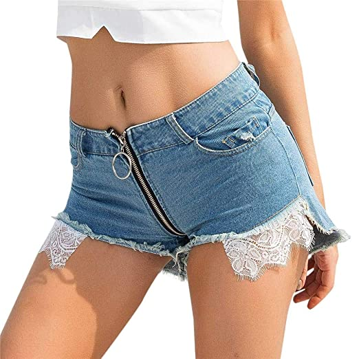 2721d23056 Sexy Zipper Denim Shorts for Women Lace Low Waist Cut Off Stretchy Fabric  Hole Pockets Mini Jeans Shorts at Amazon Women's Clothing store: