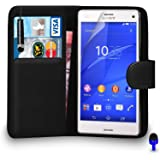 Sony Xperia Z3 Compact Premium Leather Black Wallet Flip Case Cover Pouch + Mini Touch Stylus Pen + Screen Protector & Polishing Cloth BY SHUKAN®, (BLACK)
