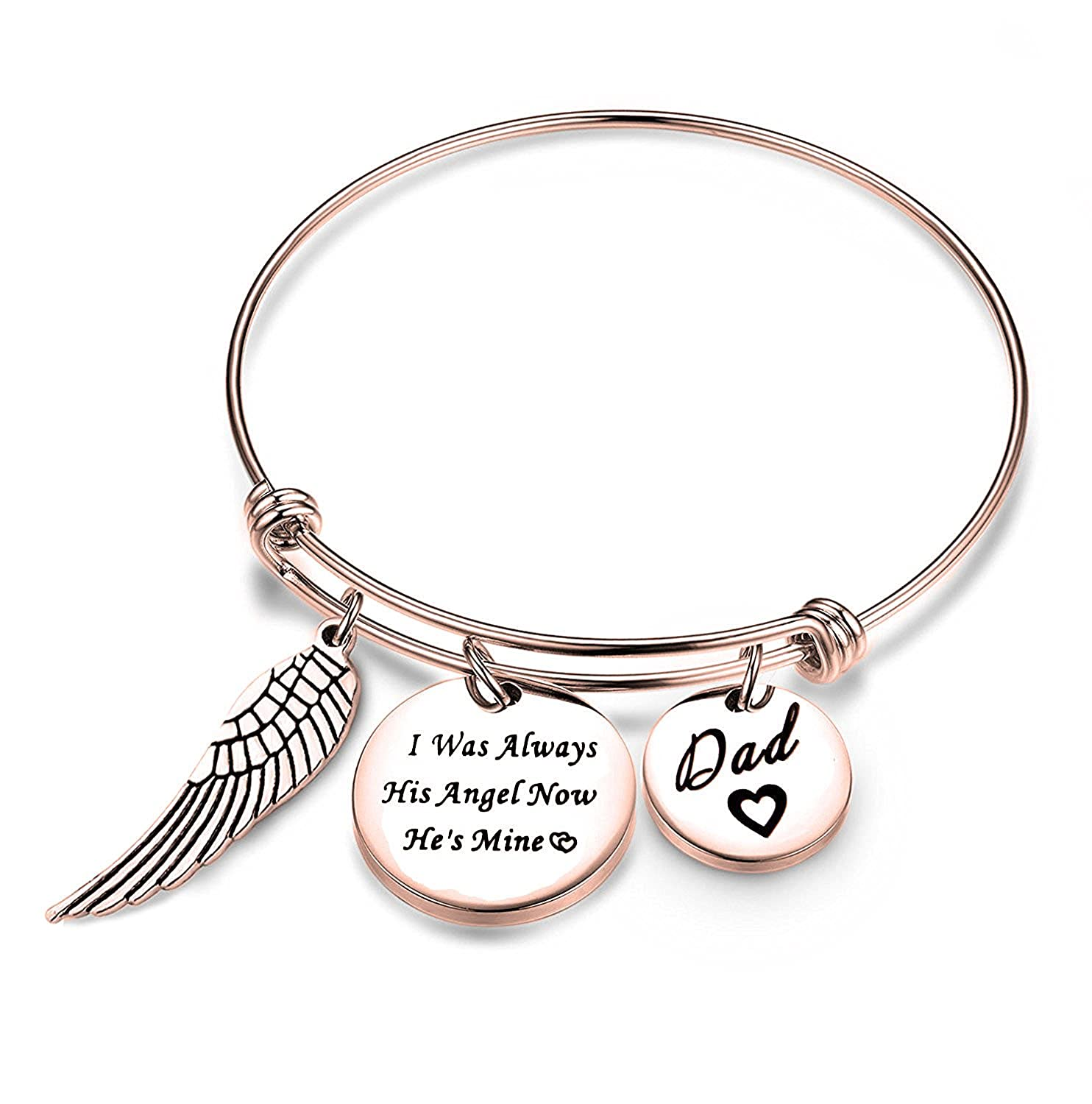 ENSIANTH Dad Memorial Jewelry I Used to Be His Angel Now He's Mine Bangle Jewelry Sympathy Gift for Her with Angel Wing OW-056
