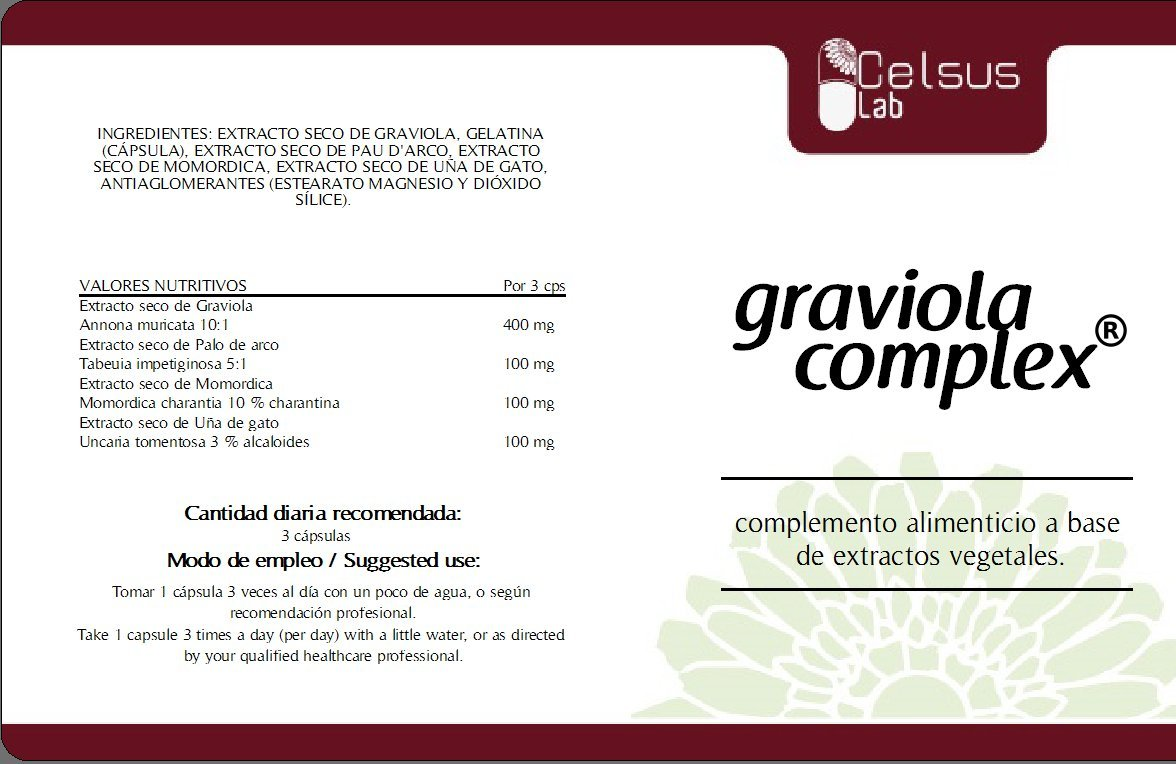 Amazon.com: Graviola Complex (Extracts of Graviola, Pau D Arco, Cats Claw and Bitter Melon), 834 mg, 60 Capsules. by CelsusLab: Health & Personal Care