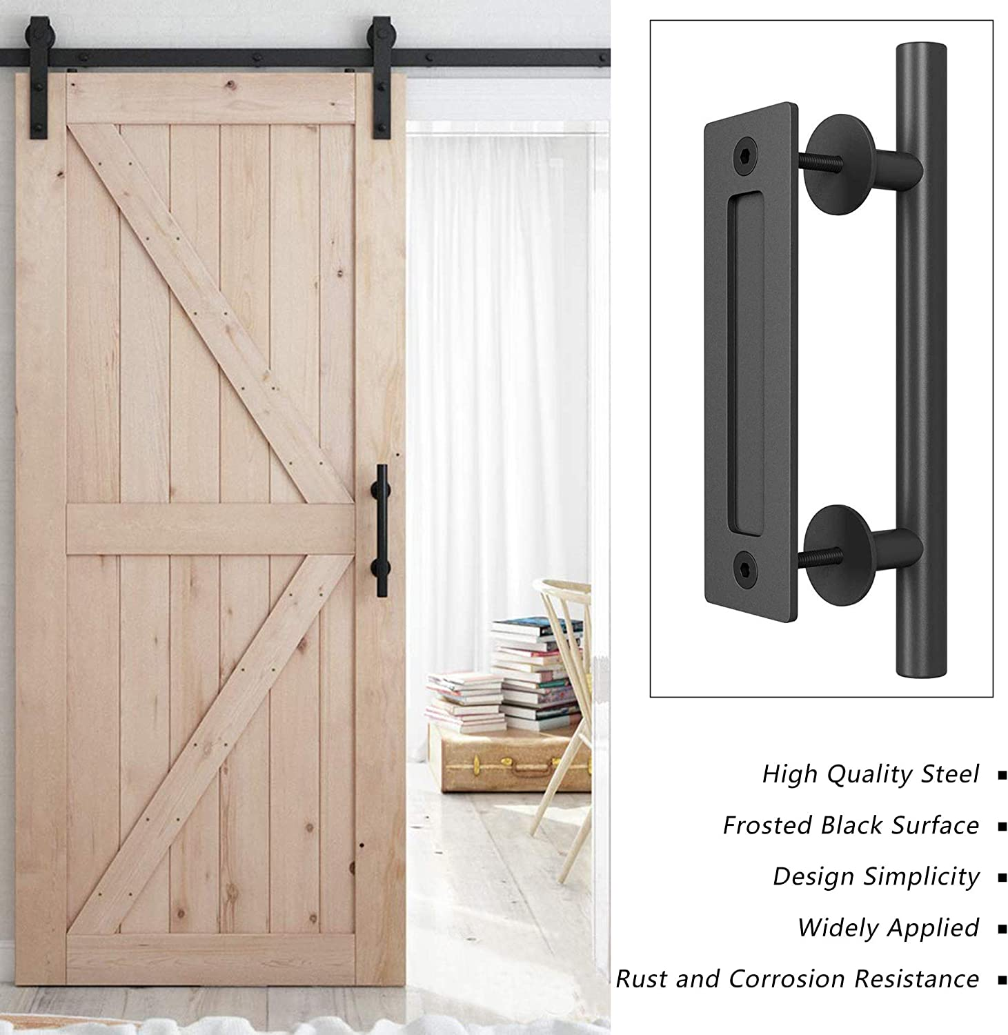 Sheds Barn Door Handle Set Black Powder Coated Finished Heavy Duty Version Round 12 Pull and Push Sliding Door Handle Large Rustic Two-Side Design for Gates Garages