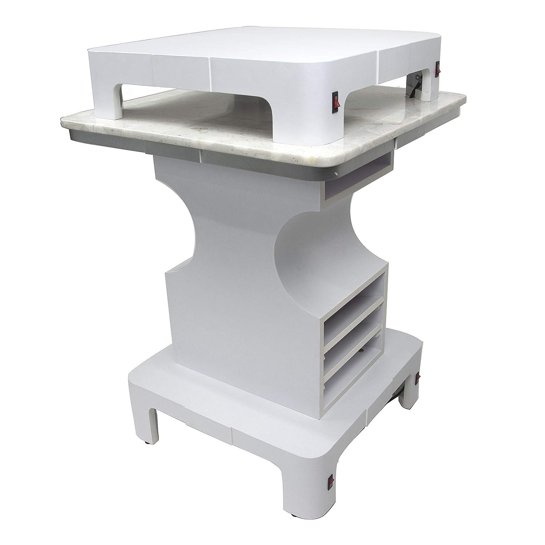 MAYAKOBA Sonoma Square Nail Dryer Table with Granite Top, UV Manicure Pedicure Dryer Nail Salon Furniture Equipment, Modern White
