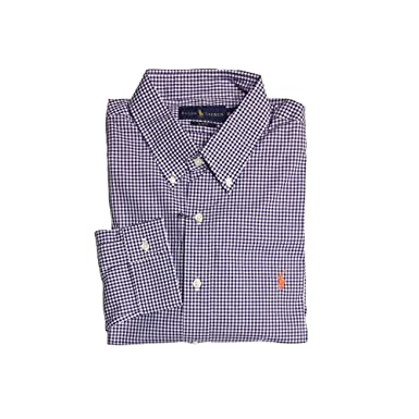 33818606 Image Unavailable. Image not available for. Color: Polo Ralph Lauren Men's  Long Sleeve Gingham Shirts, Slim Fit X-Large, Purple