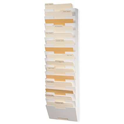 Marvelous Wallniture Lisbon Wall File Holder Metal Vertical Letter Size Rack Storage  Paperwork Organizer 15 Pack White