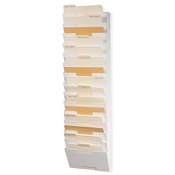 Pared archivo vertical carta Tamaño de metal soporte de almacenamiento organizador de trámites legales (15 unidades, soporte de pared.
