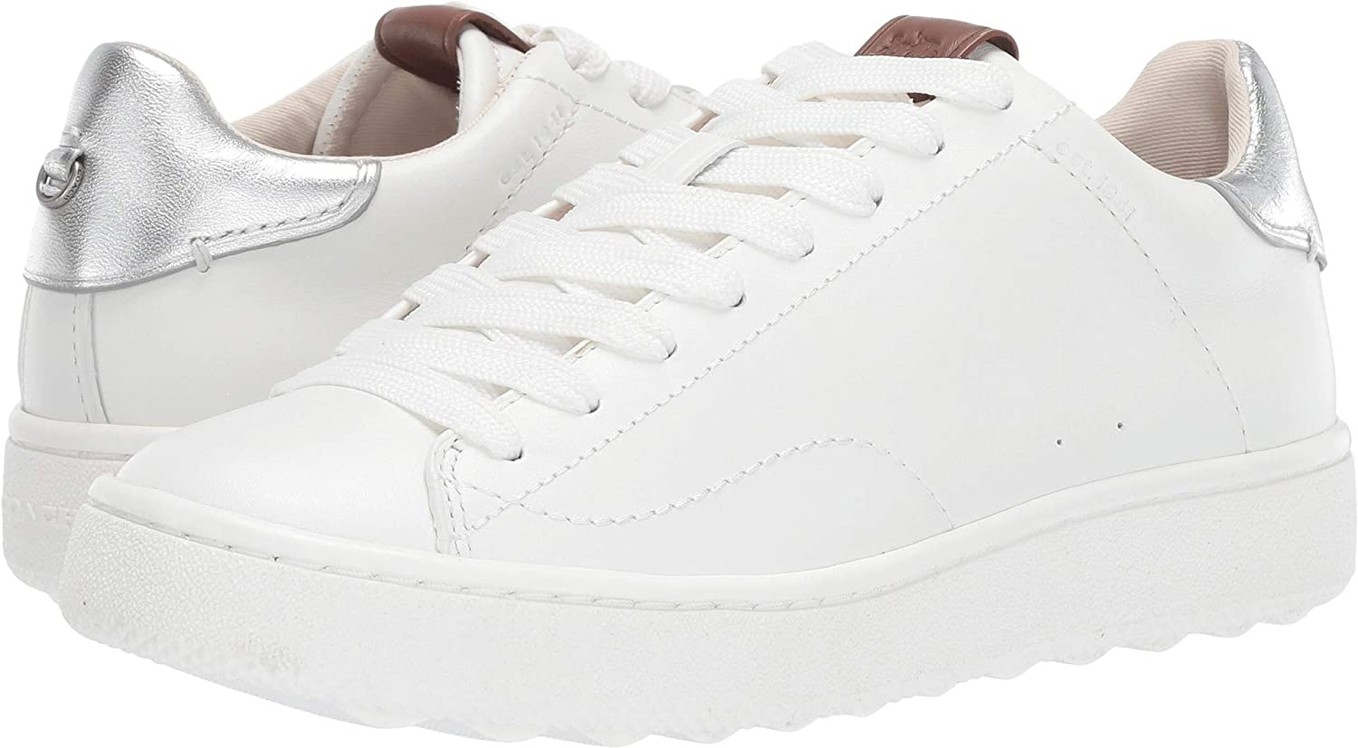 51baf3af39af1 Amazon.com | Coach Women's C101 Low Top Sneaker White/Silver Metallic  Leather 11 M US | Fashion Sneakers