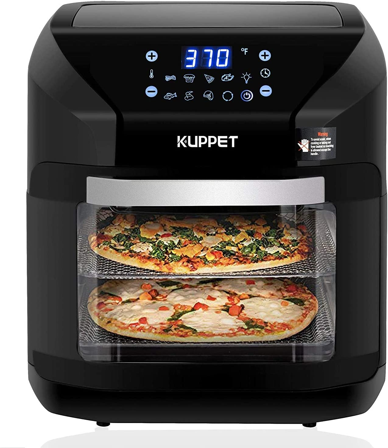 KUPPET Air Fryer 10QT Electric Hot Air Fryer, Roasting, Reheating & Dehydrating, Touch Screen Oven Oilless Cooker Extra Large Capacity Nonstick Fry Basket with Additional Accessories, 1700W - Black