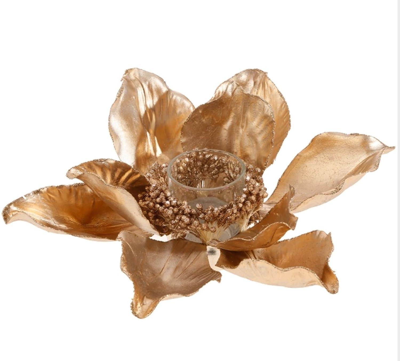 Elegant Champagne Glittered Edge and Center Magnolia Blossom Votive Candle Holder