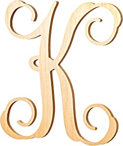 UNFINISHEDWOODCO Wooden Letter Monogram Room Décor - 13 Inches Tall - Unfinished Vine Cursive Wood Initials for Bedroom, Wall Decor Above Baby Crib, Nursery or Teen Room - Letter K