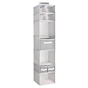 MaidMAX 7 Tiers Cloth Hanging Shelf with a Widen Strap, 3 Foldable Drawers and Divided Panels for Closet Organizer, Chevron, 53 Inches High