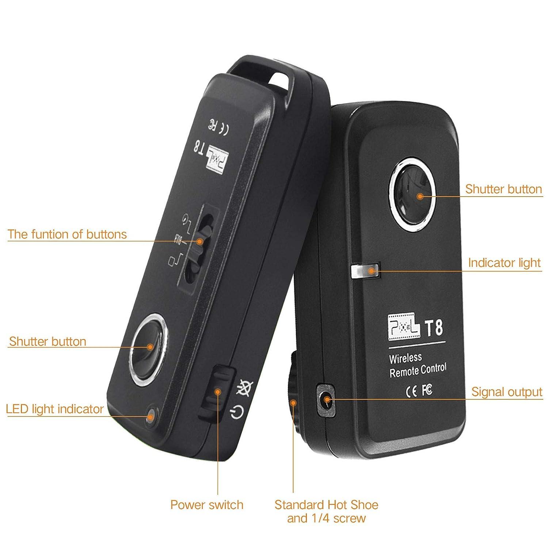Pixel T8 // N3 Telecomando dellotturatore senza fili per Canon EOS EOS-1D X Mark II 7D 1Ds 10D 1D 1D X Mark 1 1D Mark IV 5D Mark III, 5D 1Ds Mark II 40D 1D Mark II 20D 5D Mark II 50D 1D Mark III 1D Mark II N EOS D2000 30D 6D 7D Mark II