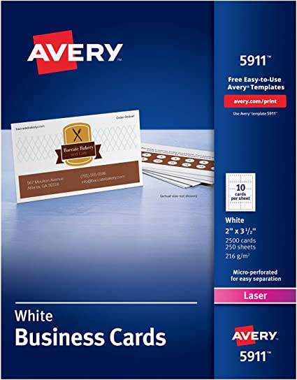 Avery Printable Business Cards Laser Printers 2 500 Cards 2 X 3 5 5911 White