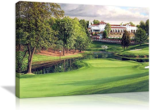 Amazon Com Amemny Canvas Modern Wall Art Golf Course Backgrounds Painting Posters And Artwork Hd Prints Pictures Decor For Living Room Framed Stretched Ready To Hang 24 Wx16 H Posters Prints