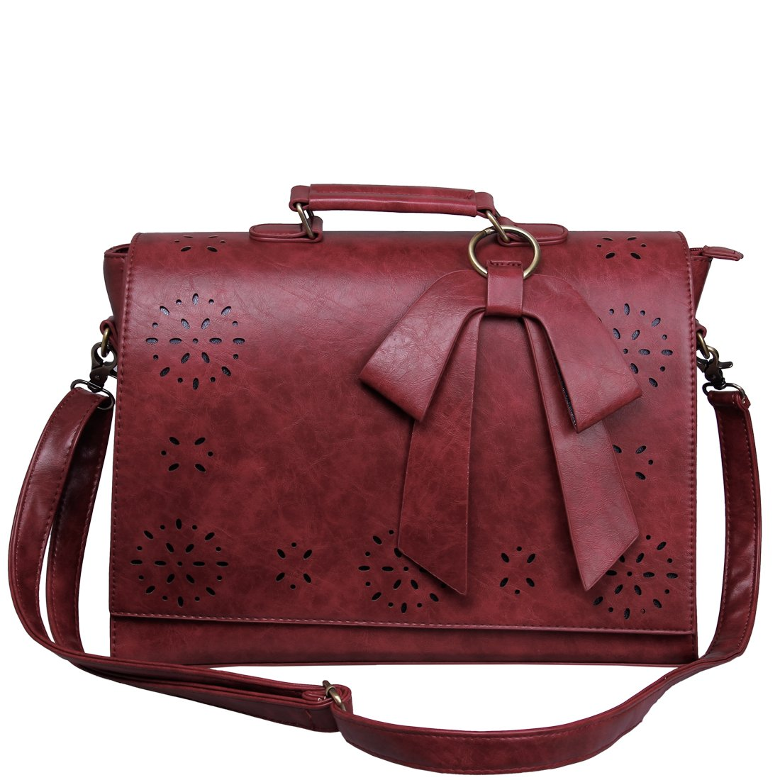 women vintage 14 laptop shoulder bag briefcase messenger faux leather handbag ebay. Black Bedroom Furniture Sets. Home Design Ideas