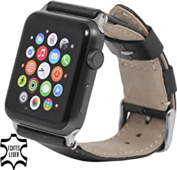 StilGut Watch Strap, cinturino di ricambio in pelle italiana per Apple Watch 42mm, Nero