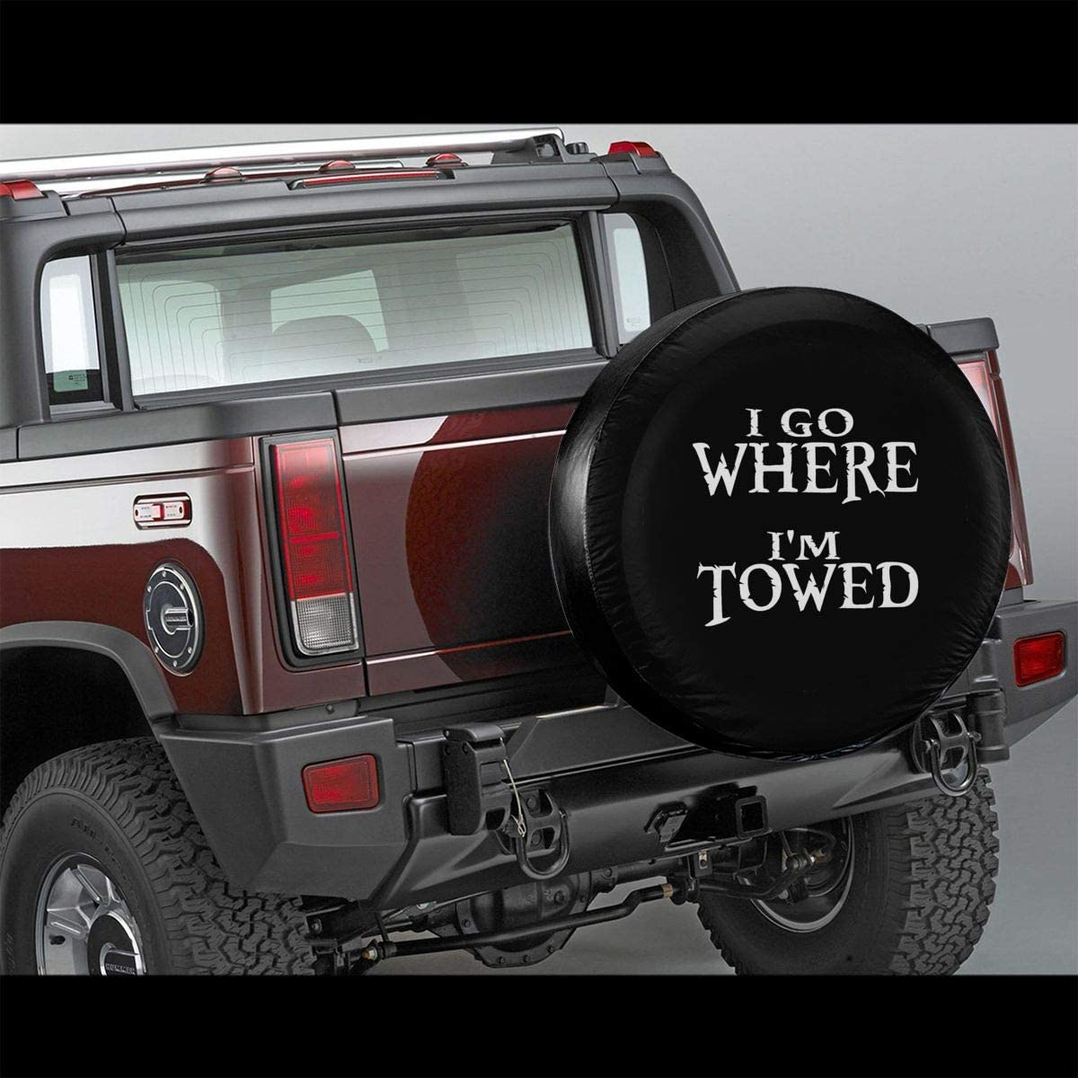 Spare Tire Cover for RV Jeep Wrangler Trailer Campers 14 15 16 17 Inch Wheel Water-Proof Dust-Proof and Sun Protection Uktly I Go Where Im Towed Tire Covers
