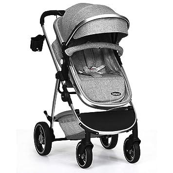 Amazon.com: INFANS Cochecito de bebé recién nacido, 2 en 1 ...