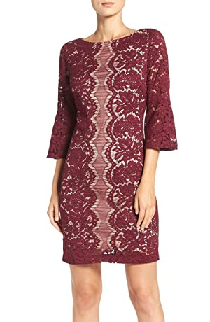 Gabby Skye Women's Bell Sleeve Sheath Dress - Party Dress (14, WINE/ NUDE)