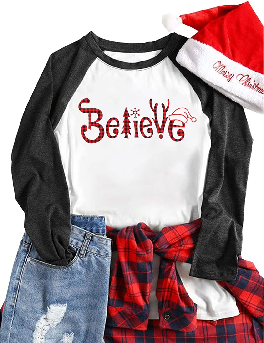 JINTING Plus Size Christmas Believe Shirt for Women Plus Size Christmas Raglan Baseball Shirts
