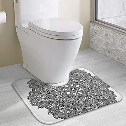 Lotus Toilet Carpet Ornamental Mandala with Lace Pattern Featured Mixed Flower Petals Ethnic Folk Design Decorative
