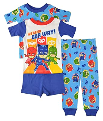 PJMASKS PJ Masks Little Boys Toddler Charcter Print 4 Piece Snug Fit Cotton  Pajama Set