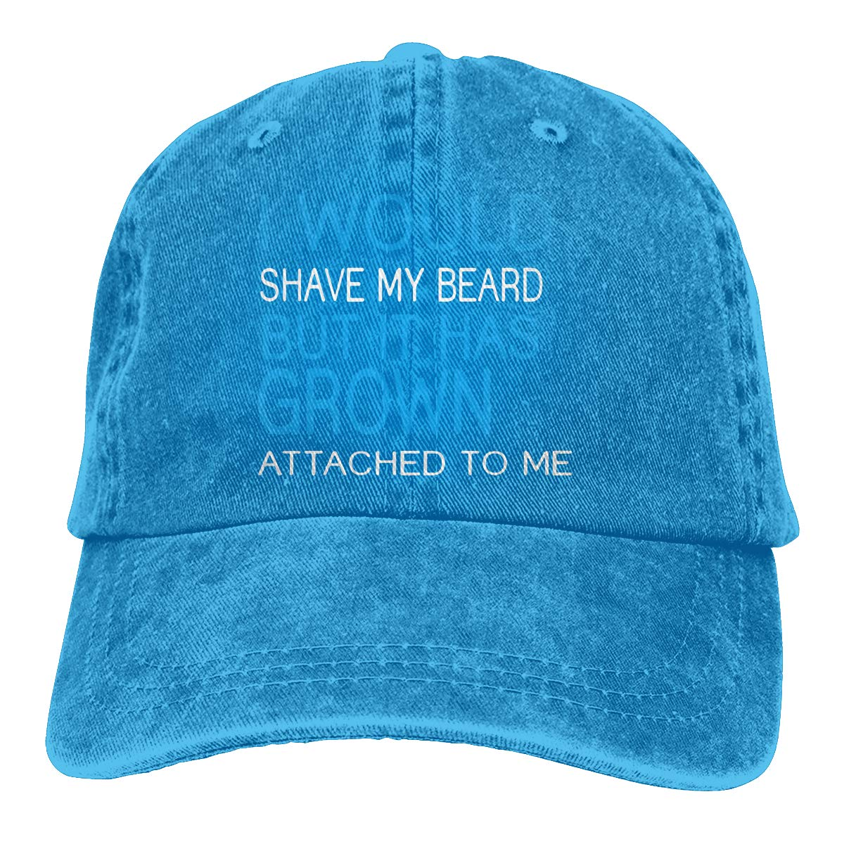 I Would Shave My Beard But It Has Grown Attached to Me Adult Trendy Denim Sun Hat Adjustable Baseball Cap