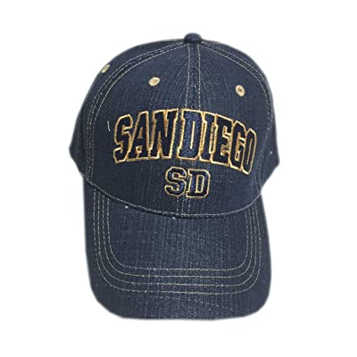 Aesthetinc San Diego Denim Blue Denim Cotton Baseball Cap Hat