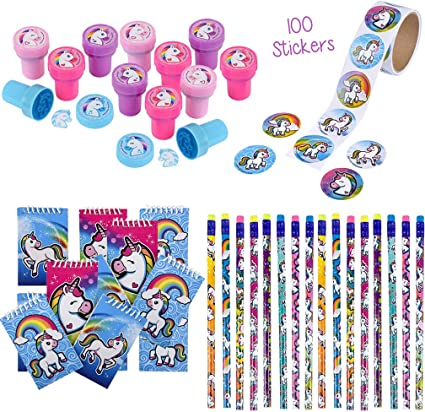 12 PC Set UNICORN Party Bag Fillers Pencils Erasers Girls Boys Loot Toys Gifts
