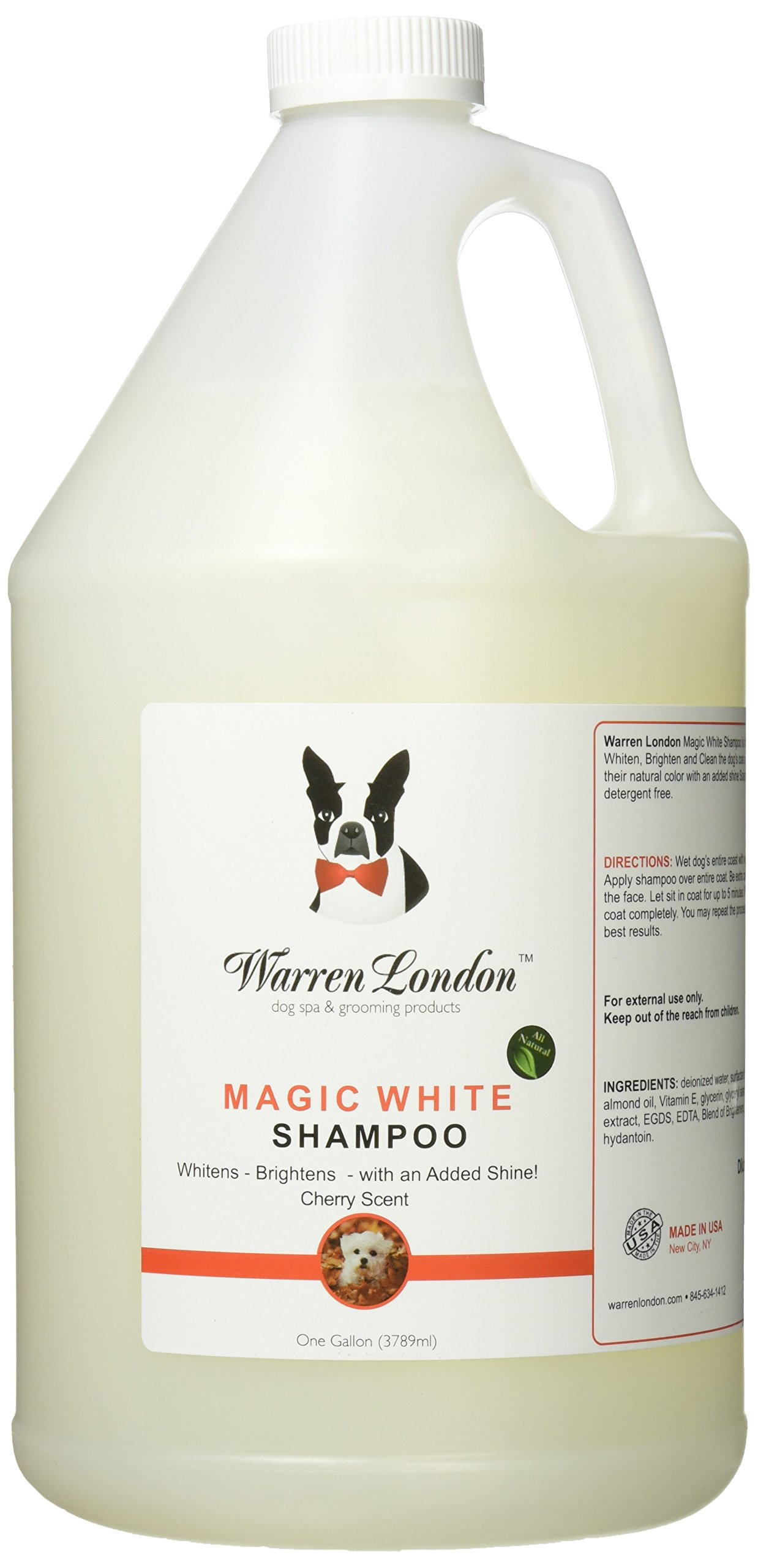 Warren London - Magic White Brightening Dog Shampoo - 1gal- Cherry Scented - Cleans, Conditions and Whitens w/ Vitamin E and Almond Oil - No Soap, Detergents, or Parabens