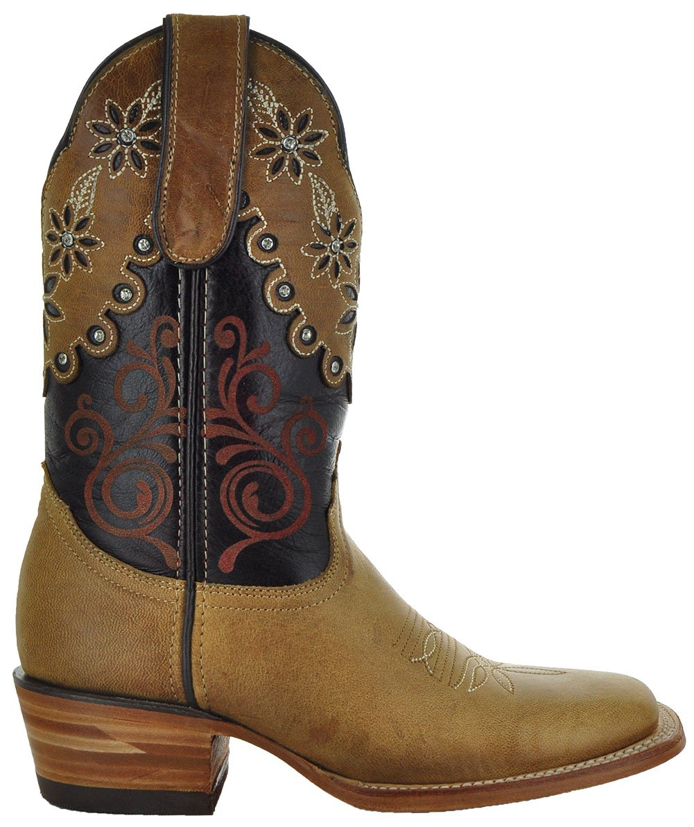 Soto Boots Daisy Duke Women's Broad Square Toe Cowgirl B(M) Boots M50034 B0794KP17T 7 B(M) Cowgirl US|Brown/Red a43282