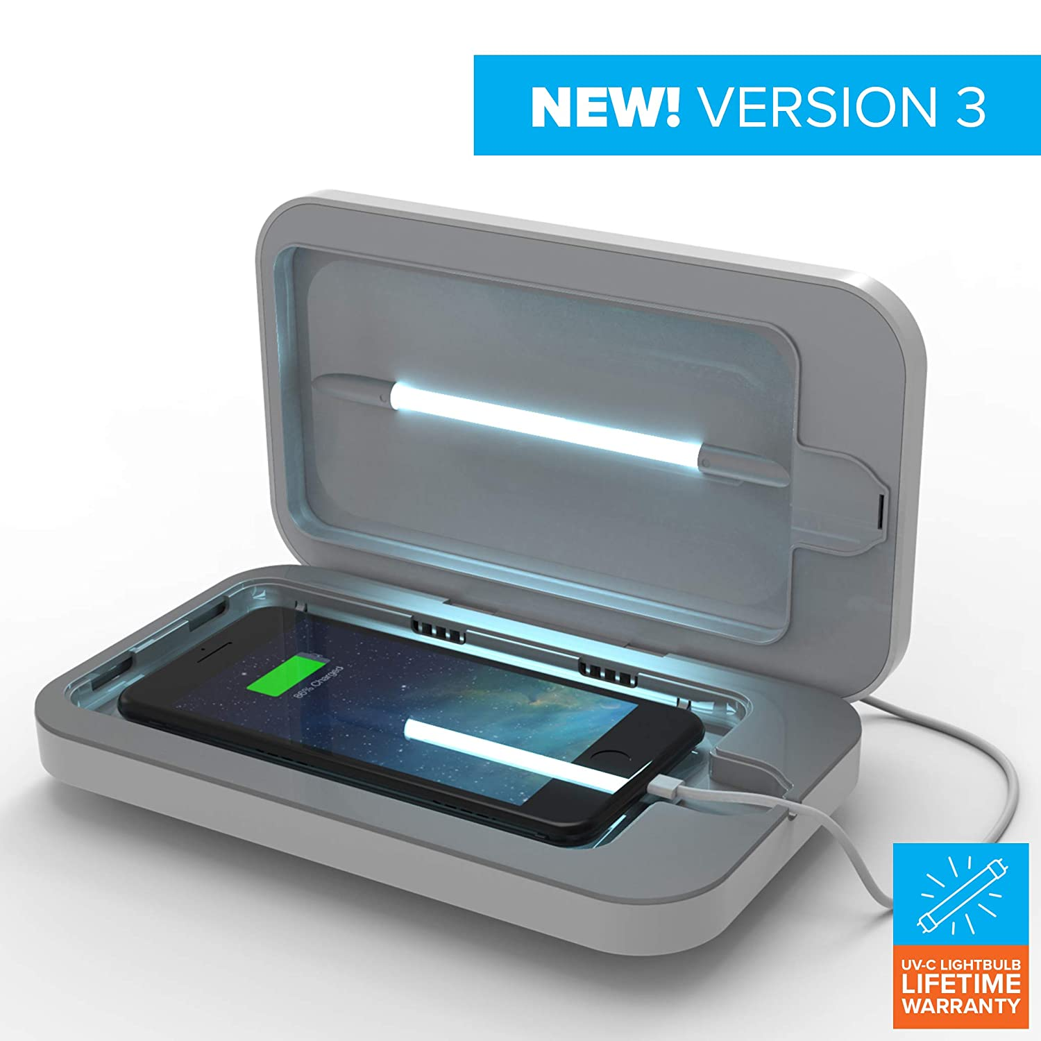 PhoneSoap 3.0 UV Sanitizer and Universal Phone Charger (White 3.0, Single)