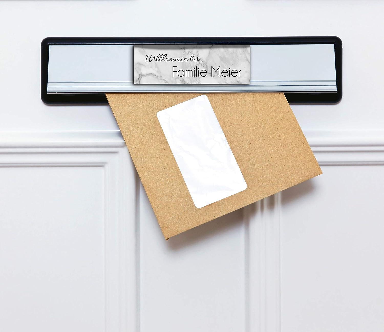 Edles T/ürschild mit Namen f/ür die Haust/ür Namensschild Briefkasten-Schild selbstklebend oder mit Bohrl/öcher Klingelschild mit kratzfestem UV Druck Gr/ö/ße ab 12x4 cm bunte T/ürschilder