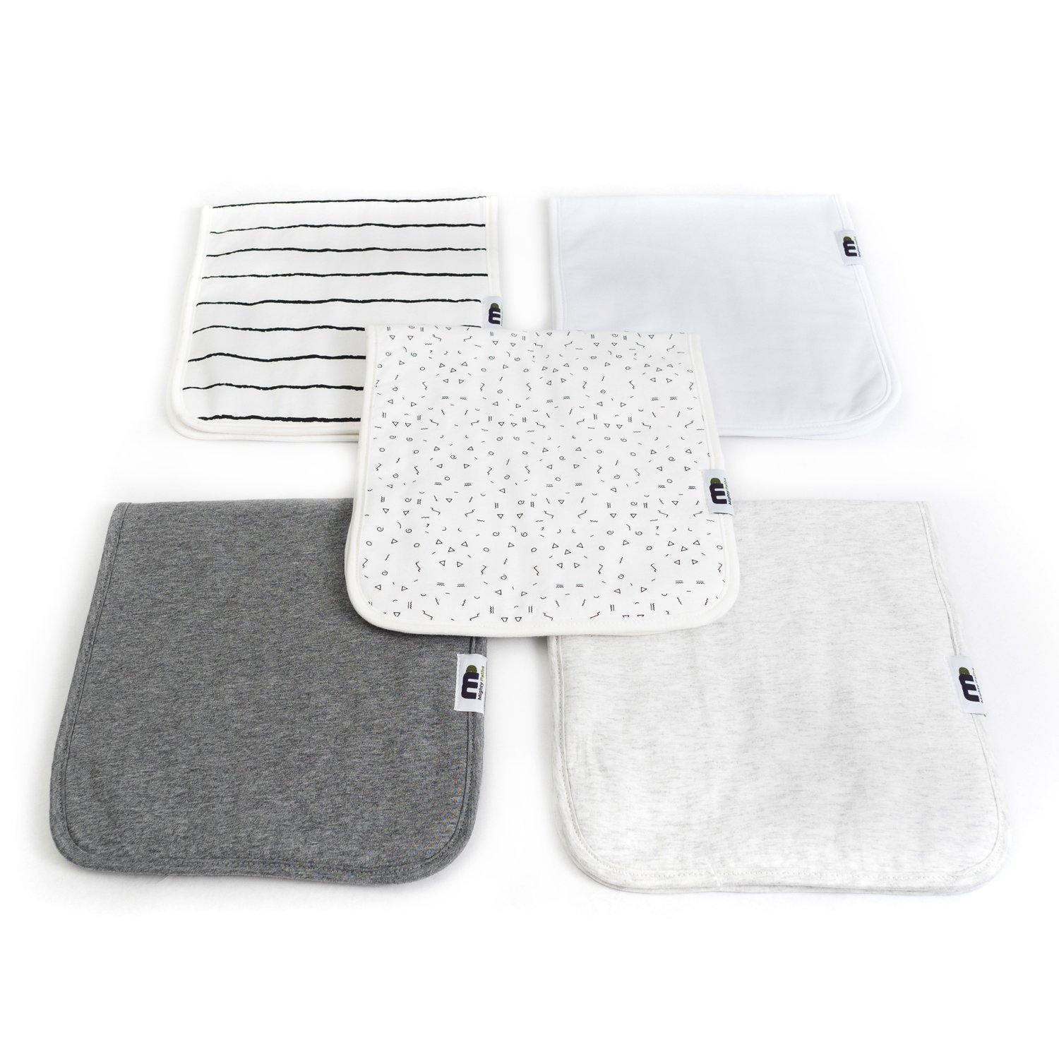 Baby Burp Cloths for Boys and Girls 5 Pack Triple Layer Burp Cloths Unisex Burping Cloths Thick Absorbent Burp Rags 100% Organic Large Soft Cotton Towels Gift Set for Baby Shower by Mighty Paths