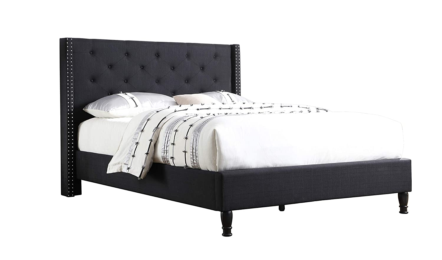 Life Home Premiere Classics Cloth Black Linen 51 Tall Headboard Platform Bed with Slats Queen – Complete Bed 5 Year Warranty Included
