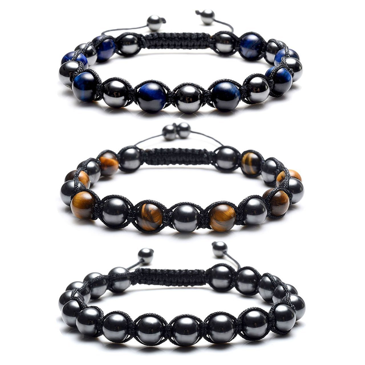 Top Plaza Men's Women's Reiki Healing Energy Natural Tiger Eye Stone Magnetic Hematite Therapy Beads Macrame Adjustable Braided Link Bracelet(Set of 3) by Top Plaza