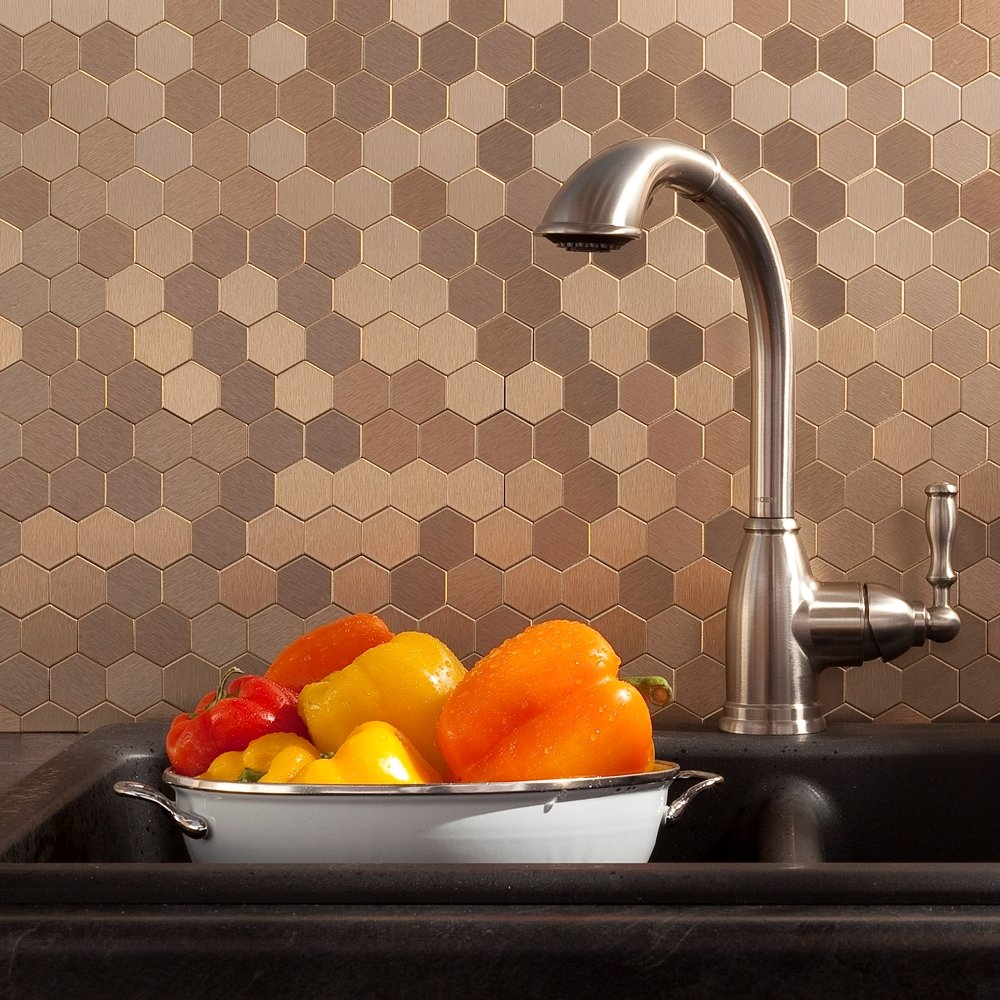 Aspect Peel and Stick Backsplash 12inx4in Honeycomb Champagne Matted Metal Tile 15 Sq Ft Kit for Kitchen and Bathrooms