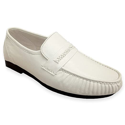Climate X 21592-2 Men's White Leather Slip On Dress Loafers
