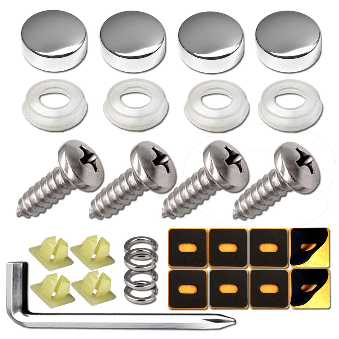Frames and Covers on American Cars and Trucks License Plate Screws-Black-4PCS TANGGIFT Stainless Steel License Plate Screws for Fastening License Plates