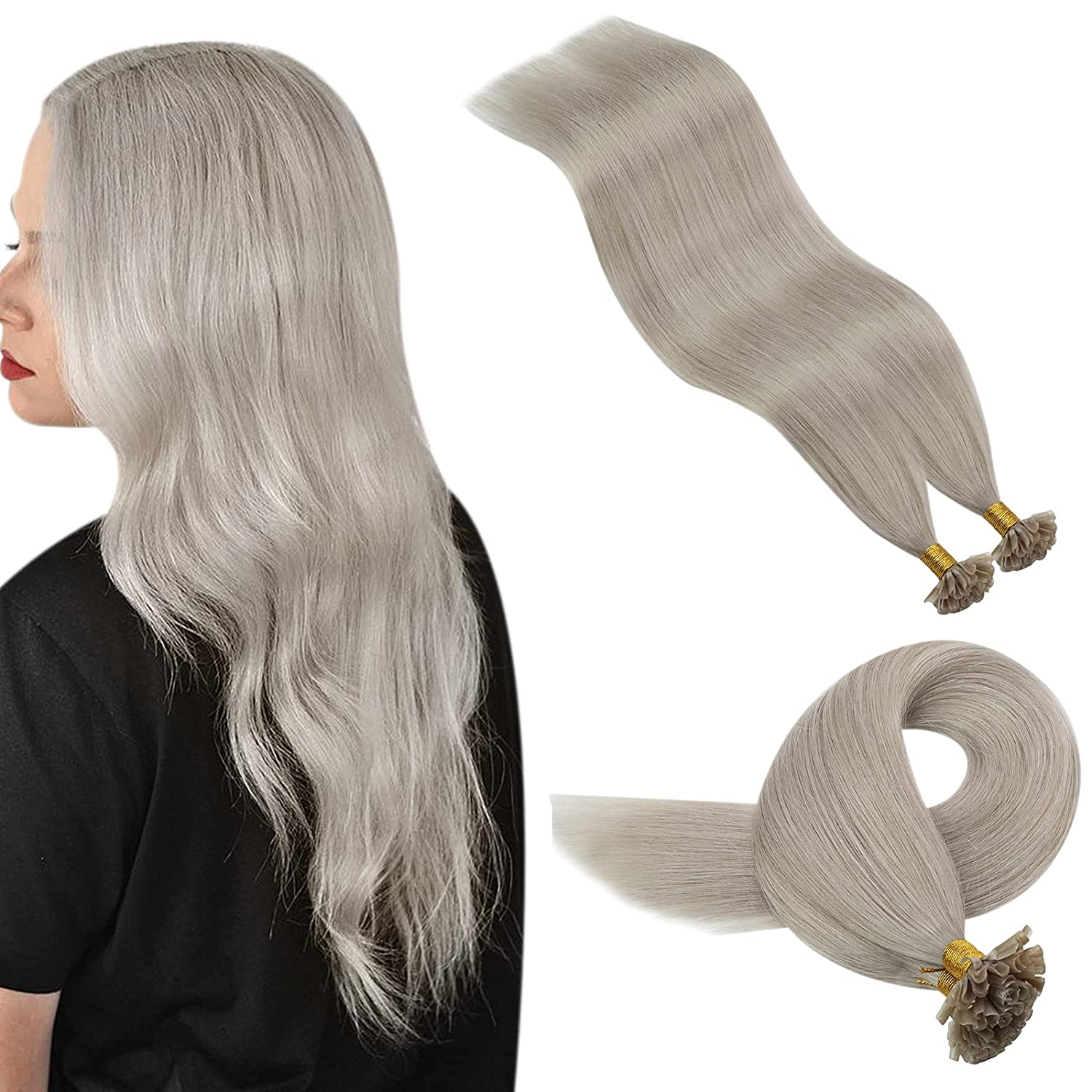 New sales YoungSee Gray U Tip Max 70% OFF Human Fusion Extensions Hair
