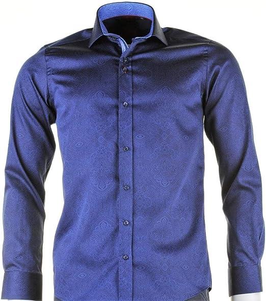Guide London Hombres Camisa de Paisley de Ajuste Delgado Marina De Guerra XL: Amazon.es: Ropa y accesorios