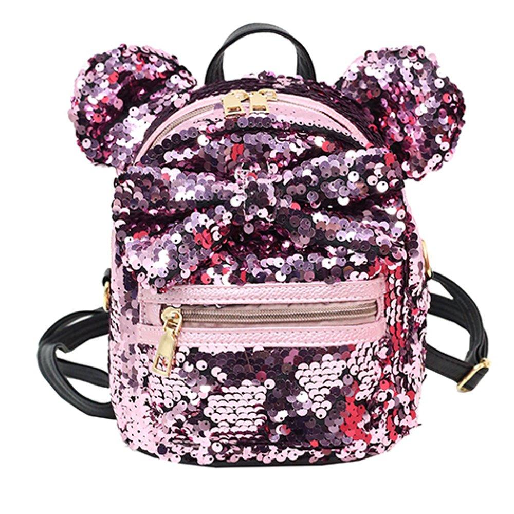 Women Girl's Sequin Backpack Cute Mini Fashion Backpack Ears Bowknot Shoulder School Bag(Pink)