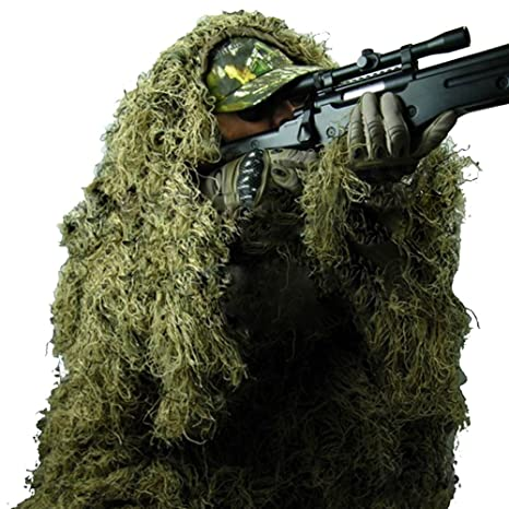 4ecce3c9214 Pinty Ghillie Suit 3D 4-Piece with Bag Camouflage Camo Tactical Hunting  Forest Woodland Dark