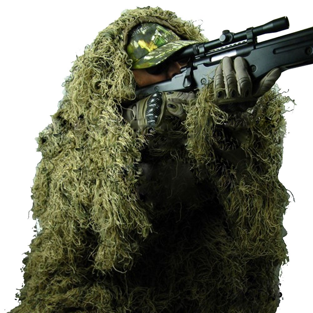 Pinty Ghillie Suit 3D 4-Piece with Bag Camouflage Camo Tactical Hunting Forest Woodland Dark Green XL/XXL