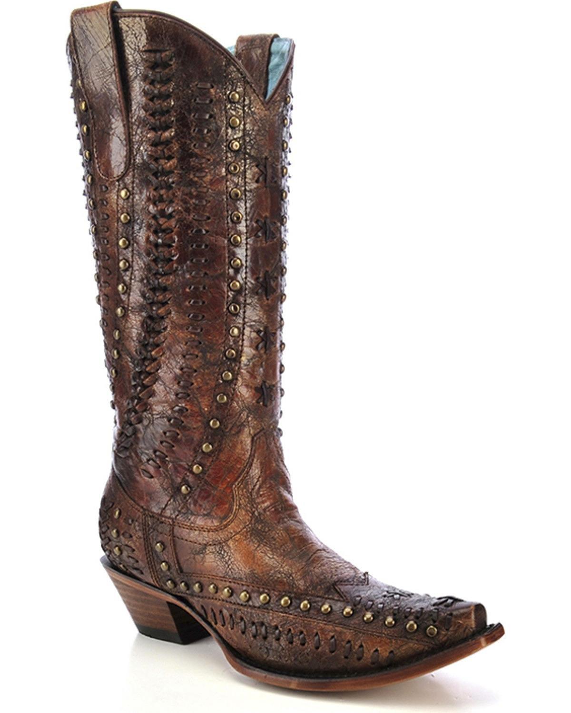CORRAL Women's Studded Woven Cowgirl Boot Snip Toe - C3004 B01IKKABZU 7.5 B(M) US|Cognac