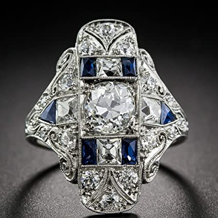 a4a2600795365 Amazon.com  paweena Vintage Women Sapphire Gems Wedding Engagement ...