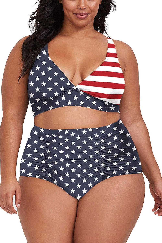 Plus Size High Swimwear RQWEIN Womens Plus Size High Waist Bandage Bikini Sets Chic Swimsuit Retro Bathing Suit