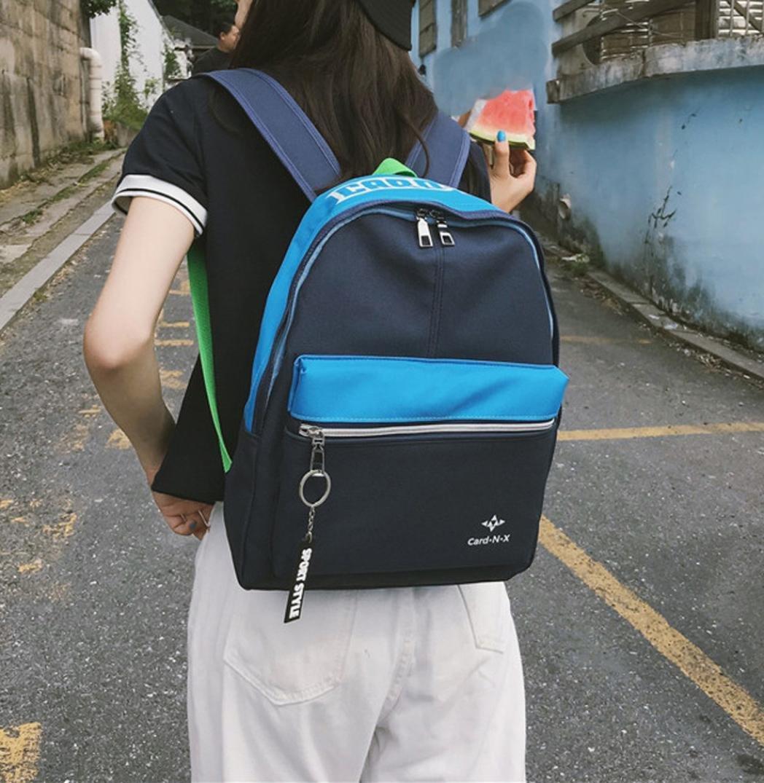 Aobiny Backpack Leisure Soft Leather Travel Backpack Shoulder Bag For Students (Blue)