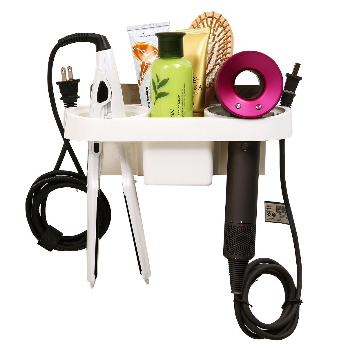 GEMITTO Double Hole Hair Dryer Organizer Durable Hair Dryer Holder No Drilling Wall Mounted for Bathroom Hotel