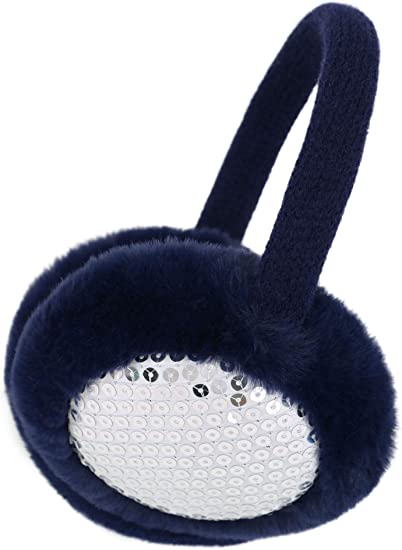 Women's Knit Fluffy Faux Furry Warm Winter Outdoors Ear Muffs, Sequin Navy  at Amazon Women's Clothing store